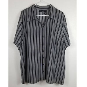 Maggie Barnes Black & Gray Striped Top Sz 3x